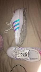 White Adidas Superstars