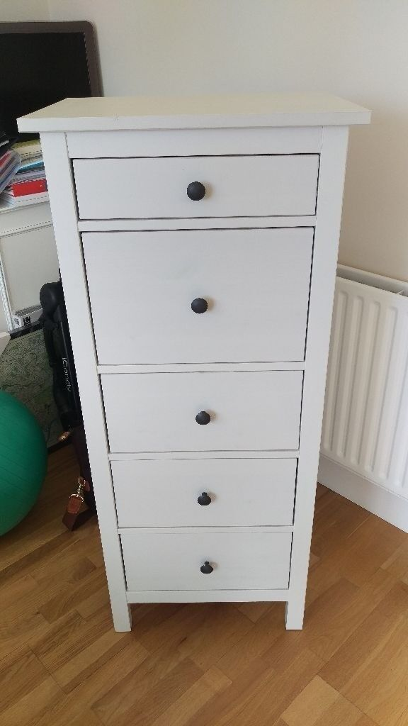 Ikea Hemnes Chest Of 5 Drawers White Washed Pine Stain Excellent