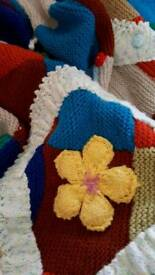Large hand knitted blanket