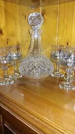 Cut glass decanter and glasses