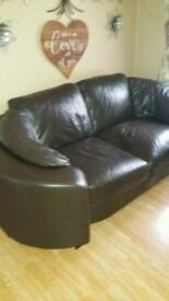 2x3 sofas VGC dark brown leather cuddle suite