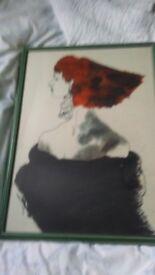 Vintage original silk painting devon artist