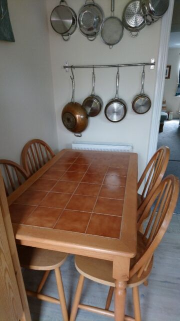 Astonishing Tiled Kitchen Dining Table With 4 Wooden Chairs Rarely Used In Gorseinon Swansea Gumtree Machost Co Dining Chair Design Ideas Machostcouk