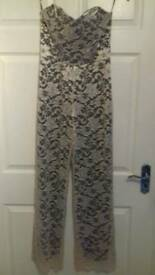 Womens nude lace overlay RareLondon jumpsuit sz 12 New