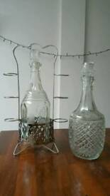 High quality vintage glass decanters with stand