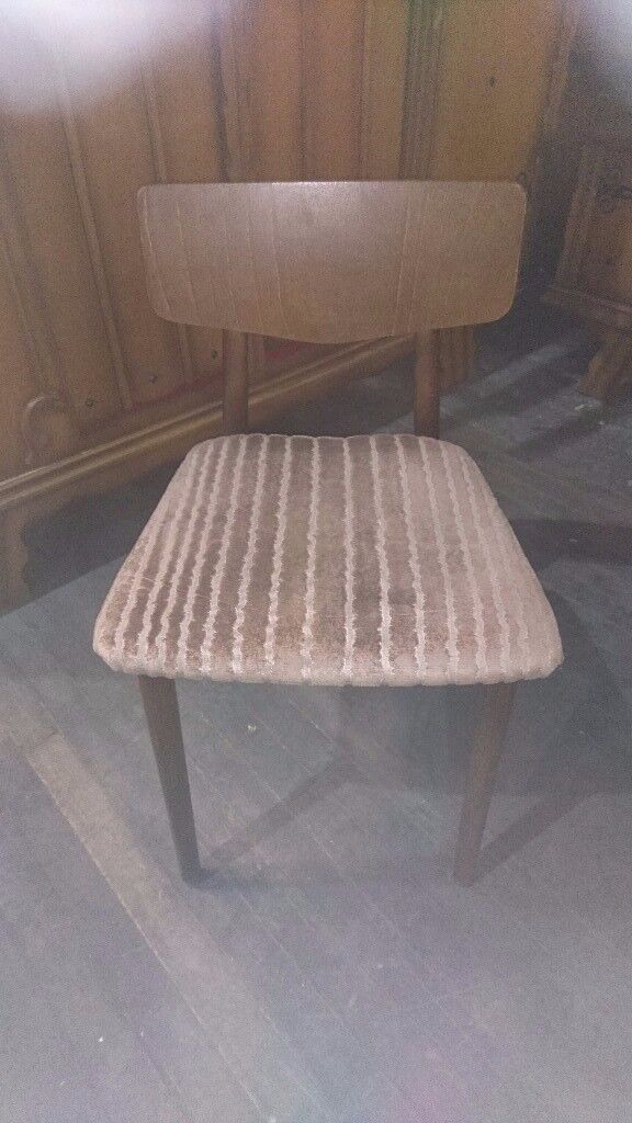 4 x teak and beige draylon dining chairs