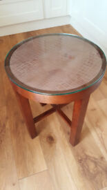 Round Solid Wood Side Table with removable glass top - £30
