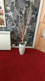 Decorative twig lights and vase