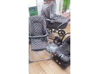 Mamas and Papas complete travel system.Pram car seat pushchair rain cover