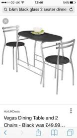 Table only - black glass, metal legs, seats 2