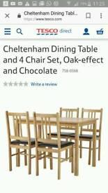 T.Cheltenham 4 set of new dining chairs oak chocklate