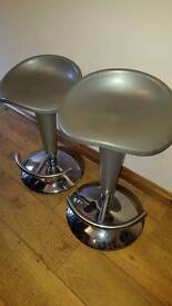 Two x bar stools. Silver & Chrome