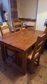 LOOK! Superb Rustic Oak table and 6 chairs. RRP £600. BARGAIN.........