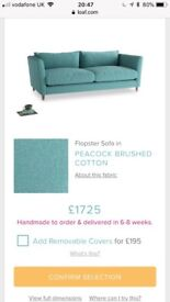 Loaf large turquoise sofa rrp£1700! New covers available