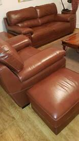 SiSI italia 3 seater and cuddle chair (large chair) and puffee this is leather browny colour