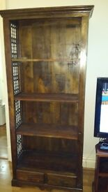 Hard wood furniture wrought iron detail. Coffee table, bookcase, mirror and TV stand