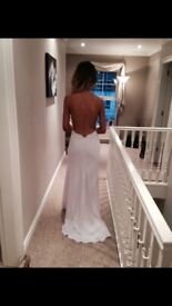 White Formal/Evening Dress, size 8 ,fitted, floor length with slit, backless with gold chain detail