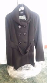 Brand new black coat suitable for size 14/16
