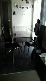 Dining table, 4 chairs and coffee table