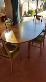 William Lawrence Solid teak dining table and 6 chairs