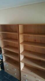 2 bookcase units with draws