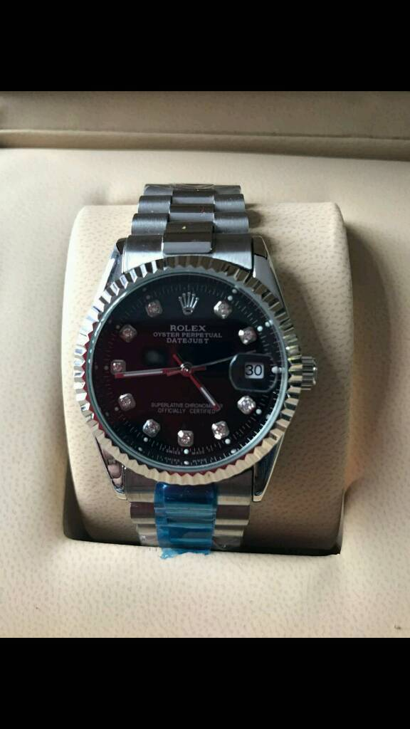 DAYJUST BLACK FACE ROLEX WATCH