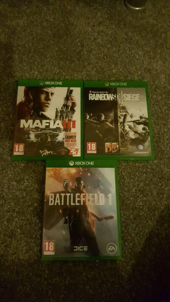 Battlefield 1.. mafia 3.. rainbow six siege xbox one