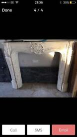 Marble effect fire surround and marble hearth/backing