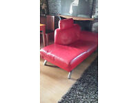 Chaise Lounge in real leather red in colour
