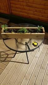 Wooden planter trough pot handmade