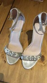 Size 8 Silver Crystal Heels