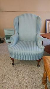 Beautiful Blue Wing Back Chair