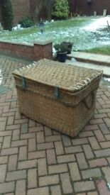 Stunning vintage large, wicker trunk / laundry basket with original fittings. Very solid.