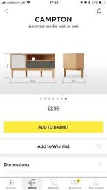 Madedotcom corner tv unit solid oak