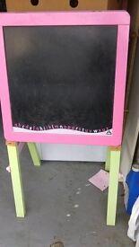 Double sided wooden easel. From ELC. Blackboard & whiteboard in one.