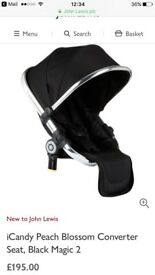 ***REDUCED***Icandy Peaches range seat for pram. RRP £195. Selling for £60. Used twice.