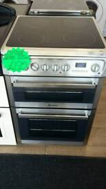 HOTPOINT STAINLESS STEEL 60CM WIDE DOUBLE OVEN ELECTRIC COOKER