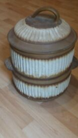 Large vintage earthenware bread bin crock