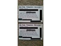4 tickets - sunday 9/7/2017 alton towers tickets