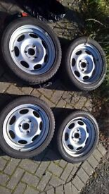 Smart ForTwo 451 model Complete set of four steel wheels and winter tyres