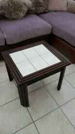Mahogany and tile coffee table.