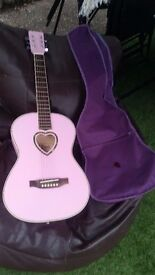 "ACOUSTIC GUITAR' NEVADA PINK 3/4 WITH CARRY CASE & STEEL STRINGS 35"" GOOD CONDITION"