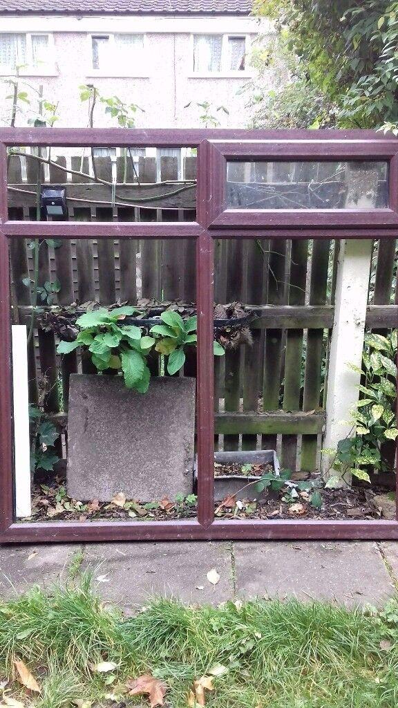 "upvc rosewood brown window 68"" x 65.75"""
