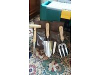 National Trust fork, trowel, dibber, tool wrap and seed sticks.