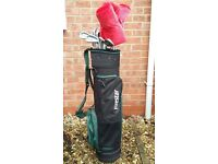 Fire Star golf clubs with bag.