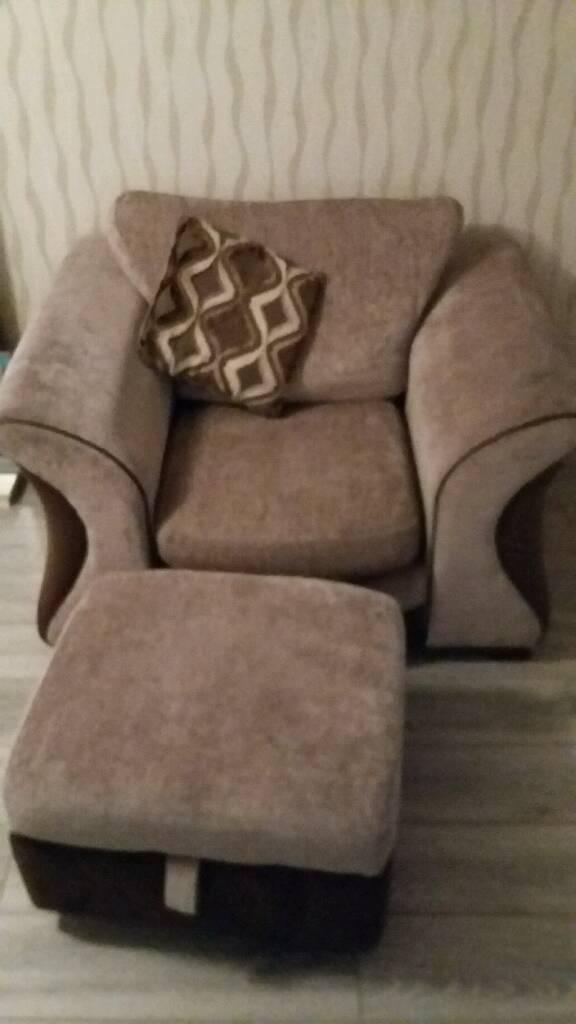 DFS corner sofa, chair & foot stool