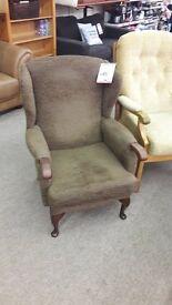 High Back Brown Fabric Armchair