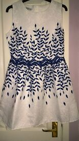 White/Navy skater dress. Size 10.