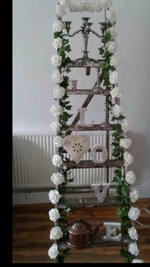 Vintage Wooden Ladder Perfect For Wedding Memory Ladder Decoration