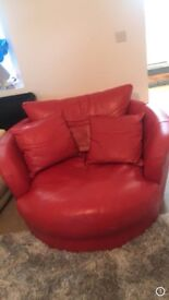 Red leather full motion swivel chair